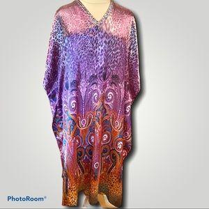 1X-3X Sante Purple Paisley Peacock- cheetah kaftan